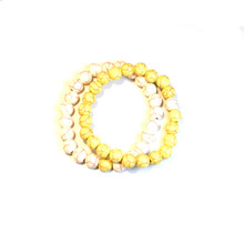 CRACKLE STONE BRACELETS - YELLOW AND WHITE