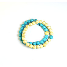 CRACKLE STONE BRACELETS - TURQ AND YELLOW