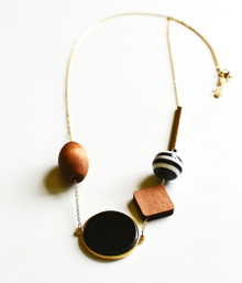 GEOWOOD LONG BAUBLE NECKLACE