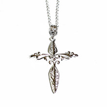 SILVER FEATHER CROSS NECKLACE
