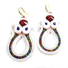 SOUTACHE - SCARLET-  WHITE FISHHOOK EARRINGS
