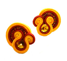SOUTACHE - SALLY - ORANGE POST EARRINGS