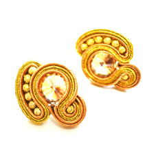 SOUTACHE - SARA - GOLD POST EARRINGS