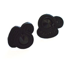 SOUTACHE - SARA - BLACK POST EARRINGS
