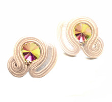 SOUTACHE - SARA - WHITE POST EARRINGS
