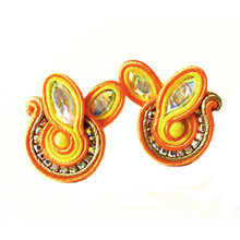 SOUTACHE - SOPHIA - ORANGE POST EARRINGS