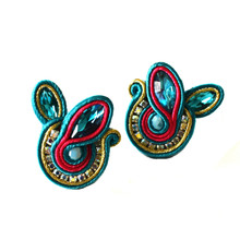 SOUTACHE - SOPHIA - TEAL POST EARRINGS