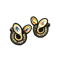 SOUTACHE - SOPHIA - BLACK POST EARRINGS