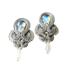 SOUTACHE - SYLVIA - SILVER POST EARRINGS