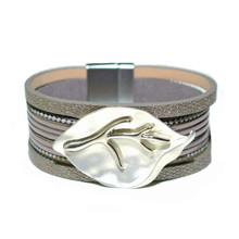 MAGNETIC LEATHER - TAUPE MALIA BRACELET