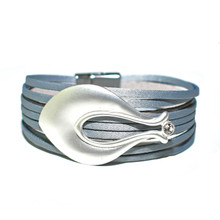 MAGNETIC LEATHER - GREY MILLIE BRACELET