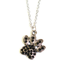 BLACK CRYSTAL PUPPY PAW NECKLACE