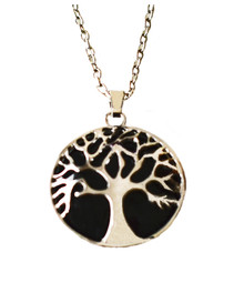 BLACK OBSIDIAN TREE OF LIFE NECKLACE