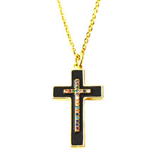 BLACK ENAMEL PAVE CROSS NECKLACE