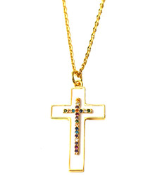 WHITE ENAMEL PAVE CROSS NECKLACE