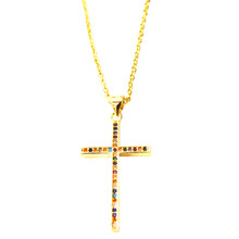 GRACEFUL GOLD PAVE CROSS NECKLACE