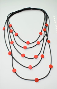 FIVE STRAND RED NECKLACE