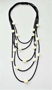FIVE STRAND BLACK AND WHITE NECKLACE