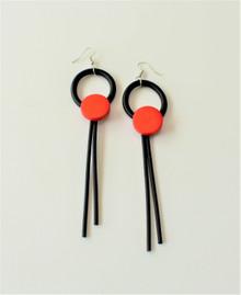 RING DROP RED EARRINGS