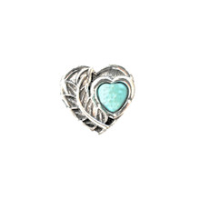 SILVER LEAF AND TURQUOISE HEART SNAP JEWEL