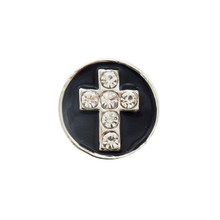 DIAMOND CROSS BLACK ENAMEL SNAP JEWEL