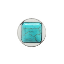 TURQUOISE SQUARE WHITE ENAMEL SNAP JEWEL