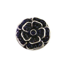 BLACK CRYSTAL ROSE SNAP JEWEL