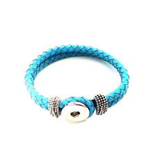 TURQUOISE BRAIDED LEATHER BRACELET