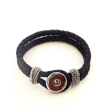 BLACK SINGLE SNAP BRAIDED LEATHER BRACELET - LARGE