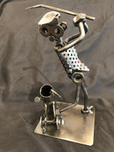 Handcrafted Found Art  Golf Golfer  4 x 3 x 7