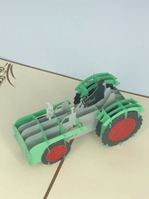 Handmade 3D Kirigami Card  with envelope  Farm Tractor