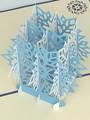 Handmade 3D Kirigami Card  with envelope  Blue Snowflake
