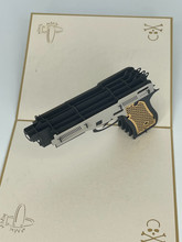 Handmade 3D Kirigami Card  with envelope  Gun Pistol