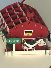 Handmade 3D Kirigami Card  with envelope  Farm
