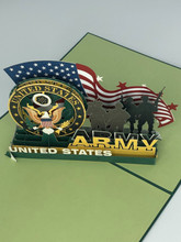 Handmade 3D Kirigami Card  with envelope  US Army