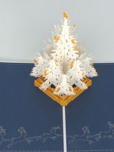 Handmade 3D Kirigami Card  with envelope  White Christmas Tree 1
