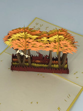Handmade 3D Kirigami Card  with envelope  Fall Deer