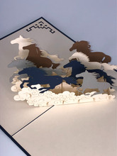 Handmade 3D Kirigami Card  with envelope  Horses