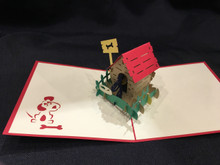 Handmade 3D Kirigami Card  Dog House