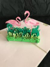 Handmade 3D Kirigami Card  with envelope  Flamingos