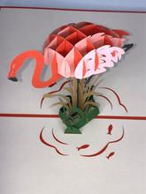 Handmade 3D Kirigami Card  with envelope  Flamingo