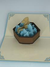 Handmade 3D Kirigami Card  with envelope  Puppy Dog Dog Bath