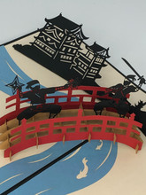 Handmade 3D Kirigami Card  with envelope  Ninja Japan