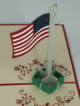 Handmade 3D Kirigami Card  with envelope  US United States Flag