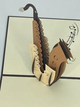 Handmade 3D Kirigami Card  with envelope  Saxophone Music