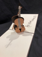 KIRIGAMI CUT PAPER ART  3D POP UP CARD Cello