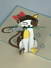 Handmade 3D Kirigami Card  with envelope  Cat with Rose