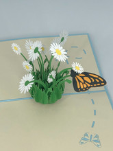 Handmade 3D Kirigami Card  with envelope  Daisy