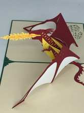 Handmade 3D Kirigami Card  with envelope  Dragon