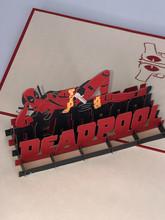 Handmade 3D Kirigami Card  with envelope  Deadpool